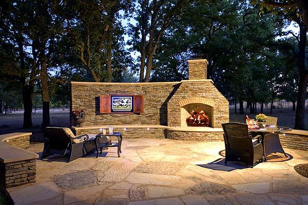 Outdoor Kitchen with Fireplace