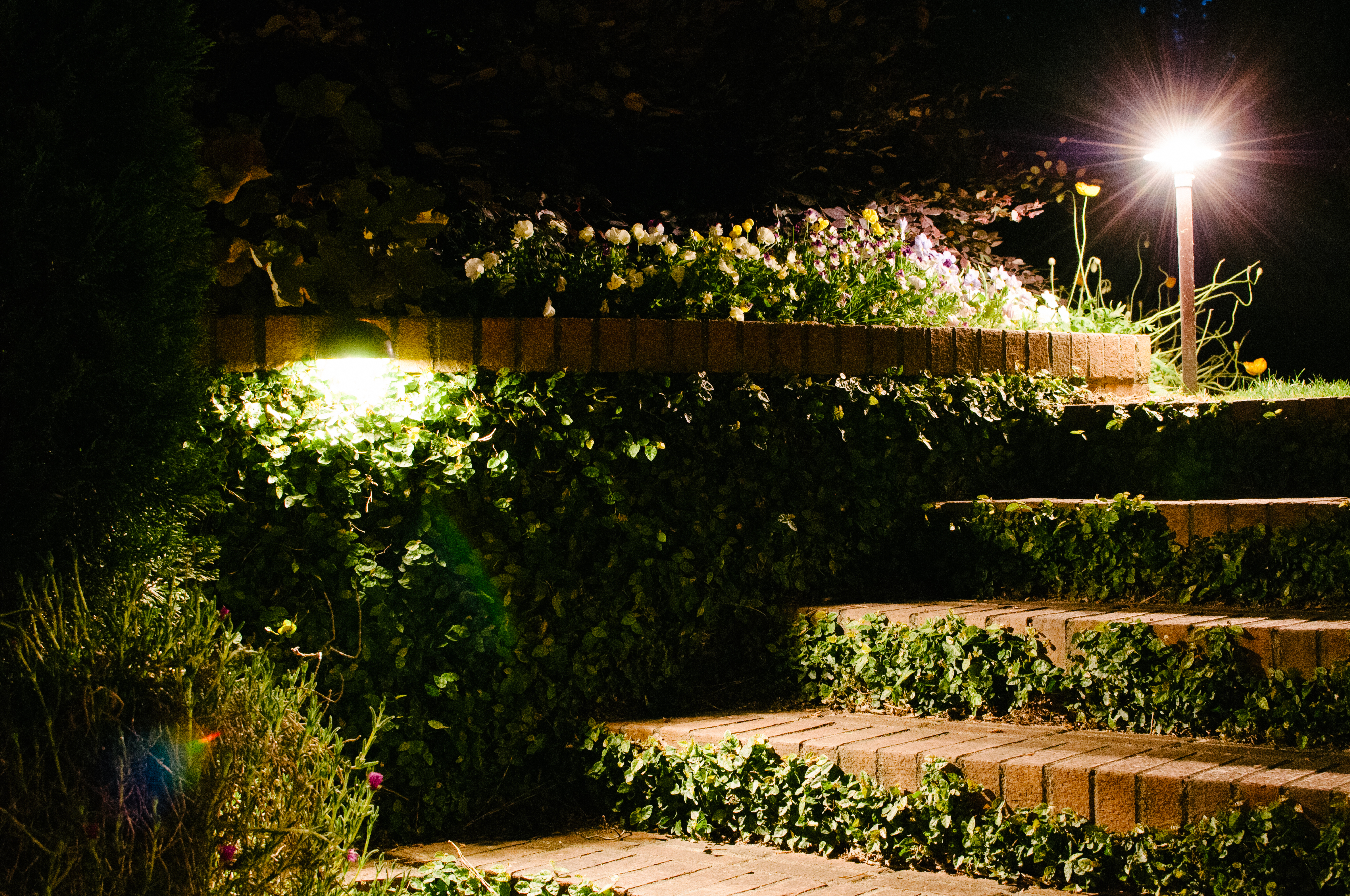 professional outdoor lights on stairs