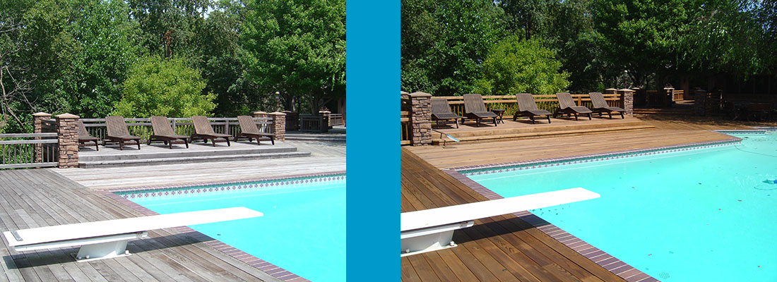 Pool Deck cleaning and staining