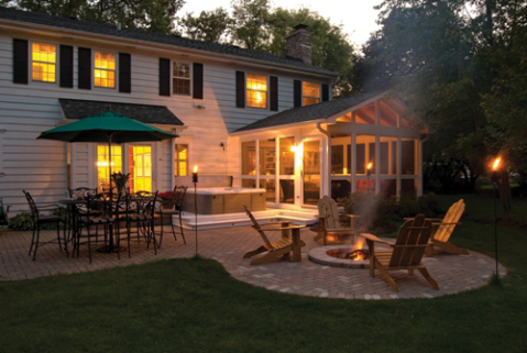 Patio Designed with Fire Pit and seating area