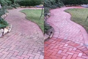 before and after pressure washing brick walkway