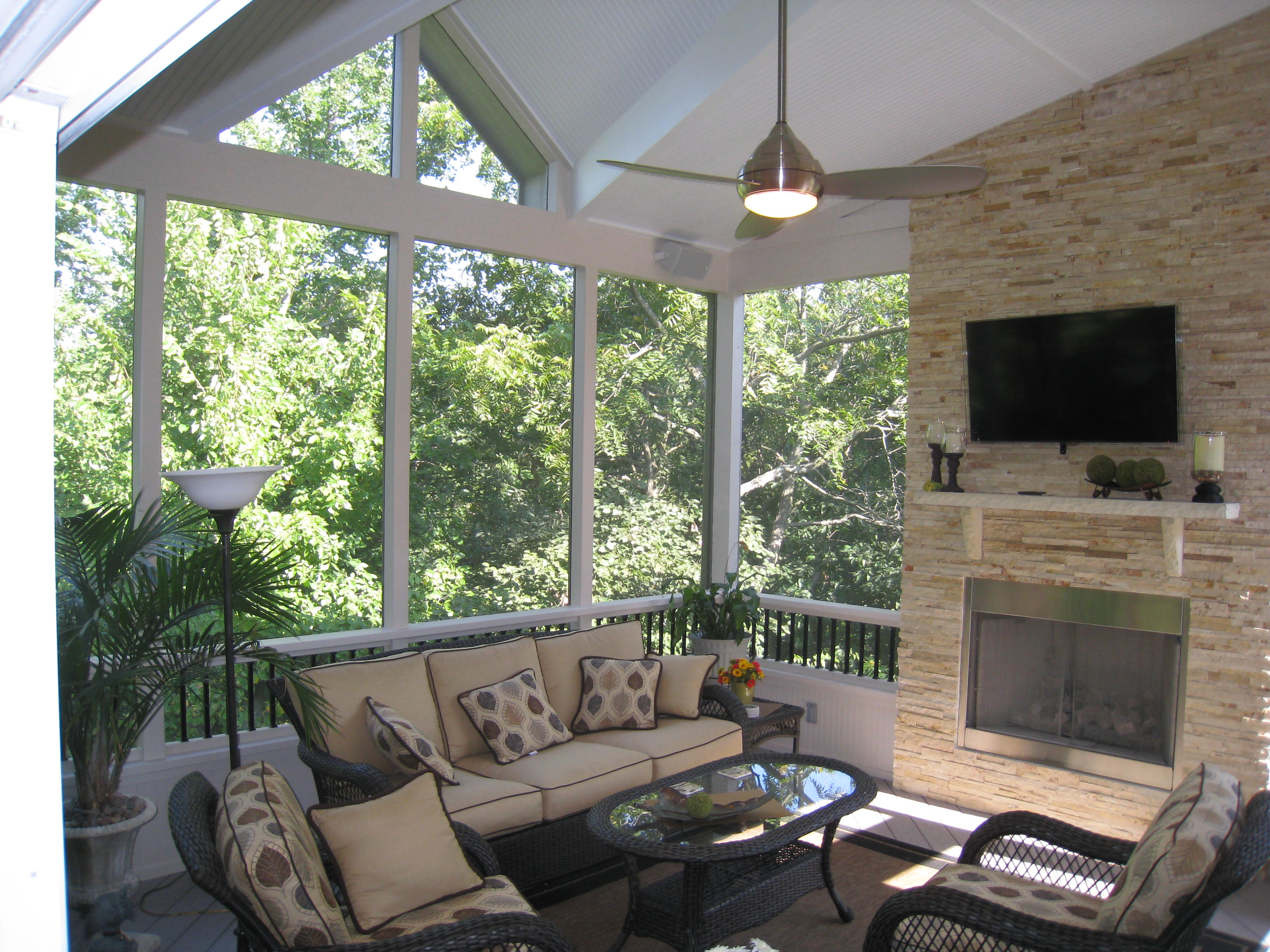 roof styles olathe ks screened porch with outdoor fireplace - Outdoor Screened Porches