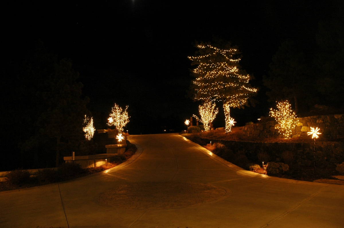 Holiday lighting along driveway at Castle Pines Village home - Douglas County, CO