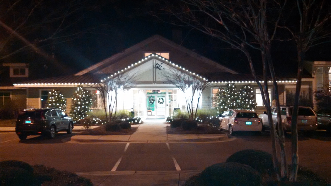 the first thing we did was install roofline lighting on all of the commercial shopping center buildings with led c9 christmas lights the results are - C9 Outdoor Christmas Lights
