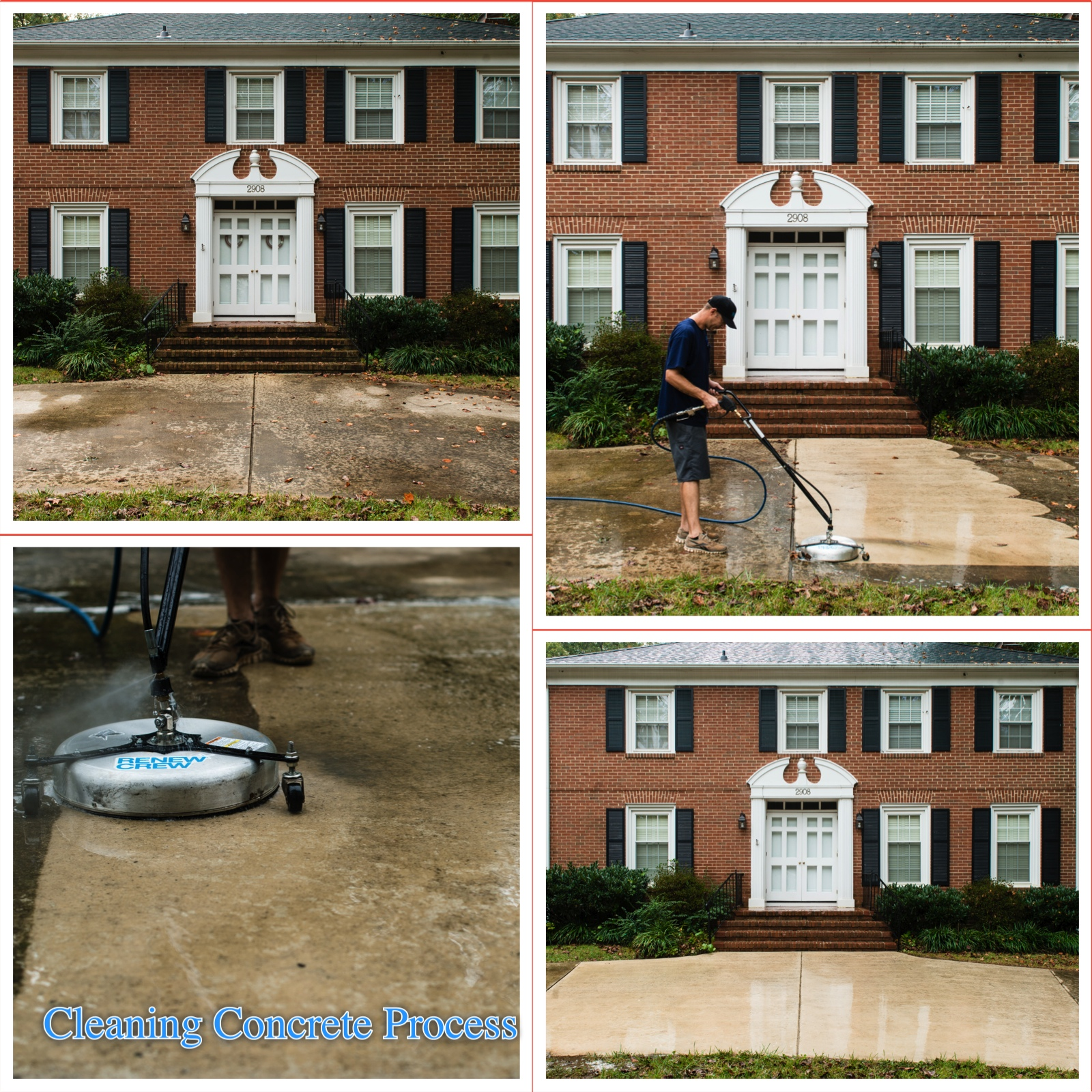 Before and after pics renew crew of pittsburgh for Deck and concrete cleaner