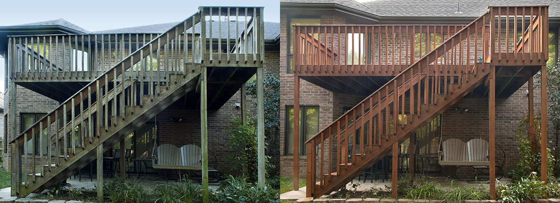 deck pressure washing before and after