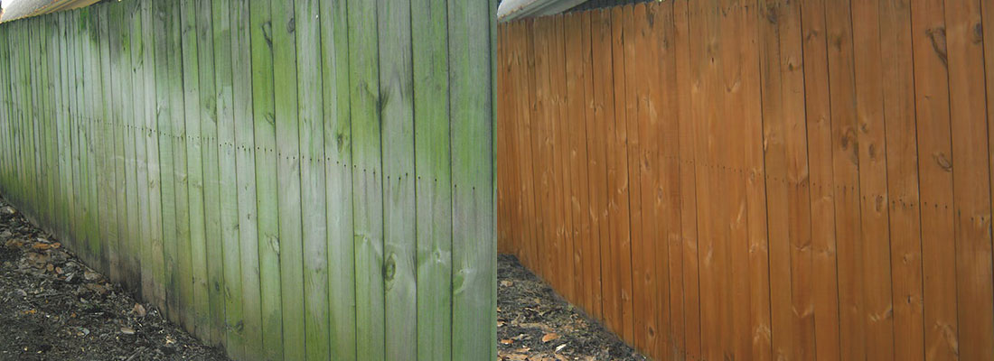 fence cleaning and sealing before and after