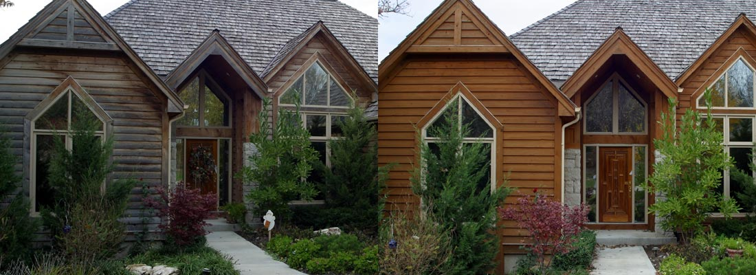 siding cleaning and protecting before and after