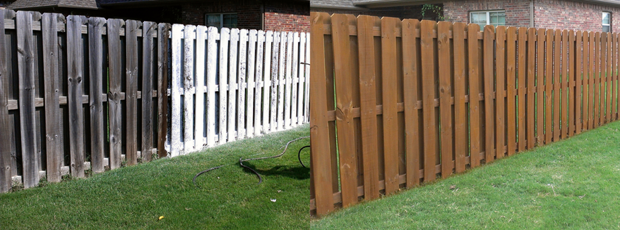 Fence cleaned and stained by Renew Crew of Northwest Arkansas