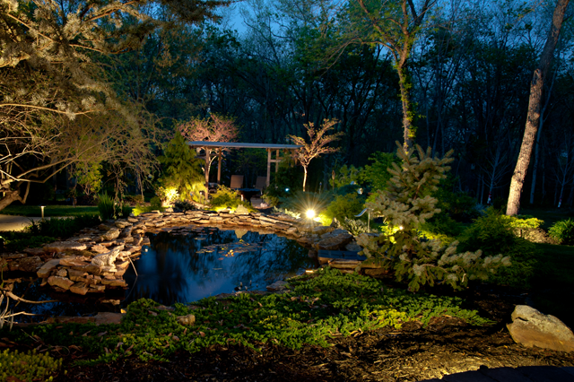 Photo gallery outdoor lighting perspectives - Night yard landscaping with outdoor lights ...