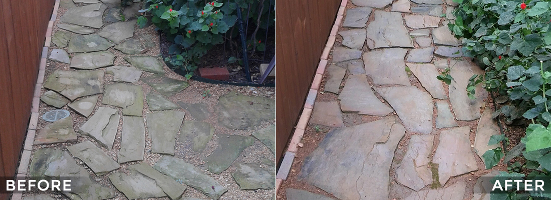 Stone Walkway Cleaning and Protecting Before and After