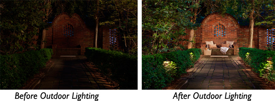 Garden lighting before and after