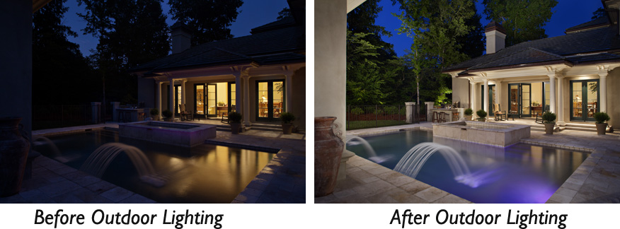 Pool lighting before and after