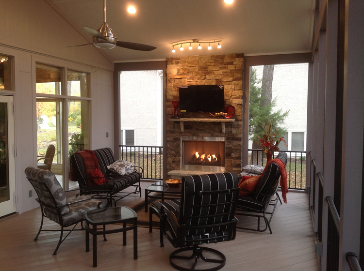 Bright and airy Shawnee KS porch with outdoor fireplace - Outdoor Porch Fireplaces Archadeck Outdoor Living