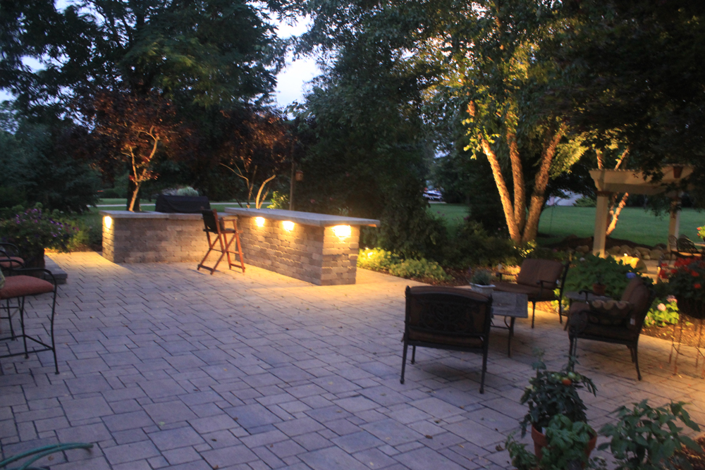 Outdoor kitchen lighting and patio lighting
