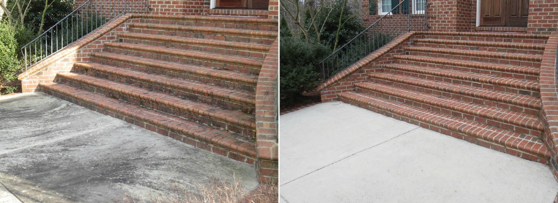 Concrete cleaning before and after