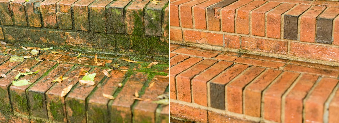 Brick cleaning before and after