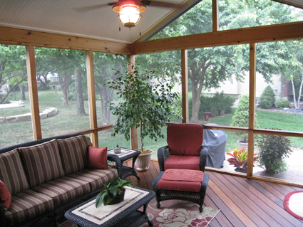 Screened Porch With Ipe Flooring In Overland Park KS