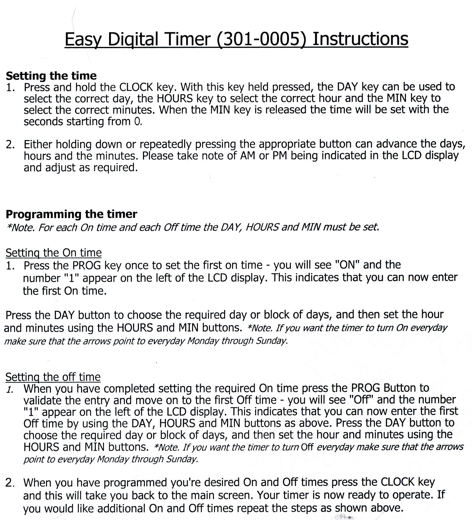 Timer Instructions | Outdoor Lighting Perspectives