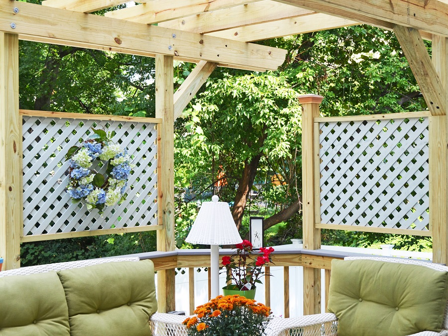 The Beauty And Practicality Of Wood Decks And The Iowa Countryside as well Vinyl Lattice And Springtime together with A Brand New Gable Roof Screen Porch For These Auburn In Homeowners further Azek Tahoe Deck Around Tree With Cedar Railingprivacy And Skirt Modern Deck Toronto together with Pergolas. on deck skirting ideas lattice