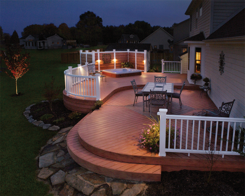 Deck lighting and spa lighting St. Louis. A deck is a significant and very important investment in your home. Now you don't need to stay off your deck when the sun goes down. Enjoy your entire deck including your spa area without being completely under the cover of night.