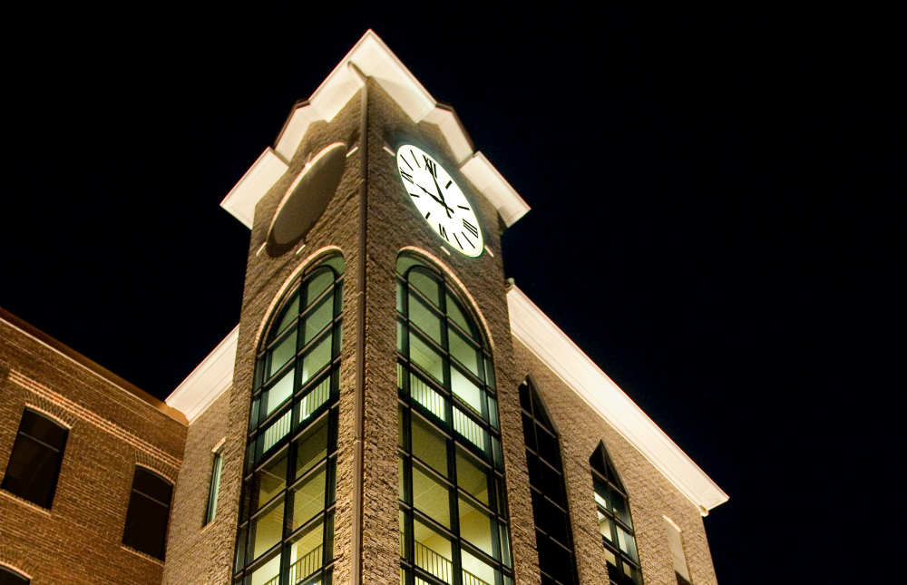 A commercial venue becomes a work of art with the right outdoor lighting. This St. Louis commercial building has a portion that includes a unique clocktower feature. By adding lighting, we were able to enhance this stunning design feature making the architecture more majestic in the evening.