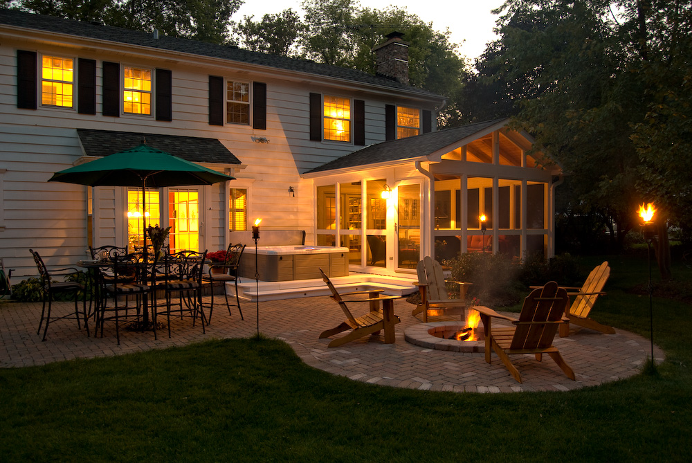 Patio and Firepit at Dusk by Archadeck