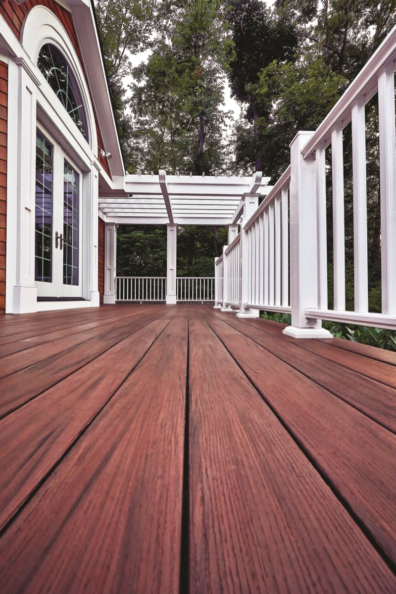 Azek timbertech composite pvc vinyl cap stock for Redwood vs composite decking