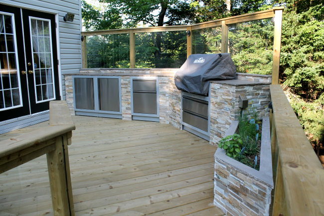 Multilevel Pressure Treated Deck With Glass Rail Halifax