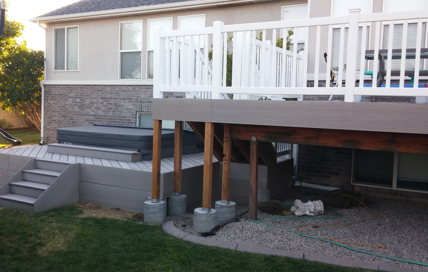while we were adding the staircase to the existing deck we did a little preparation for the next phase of the upgrade that will include an in ground pool - Above Ground Pool Deck Off House