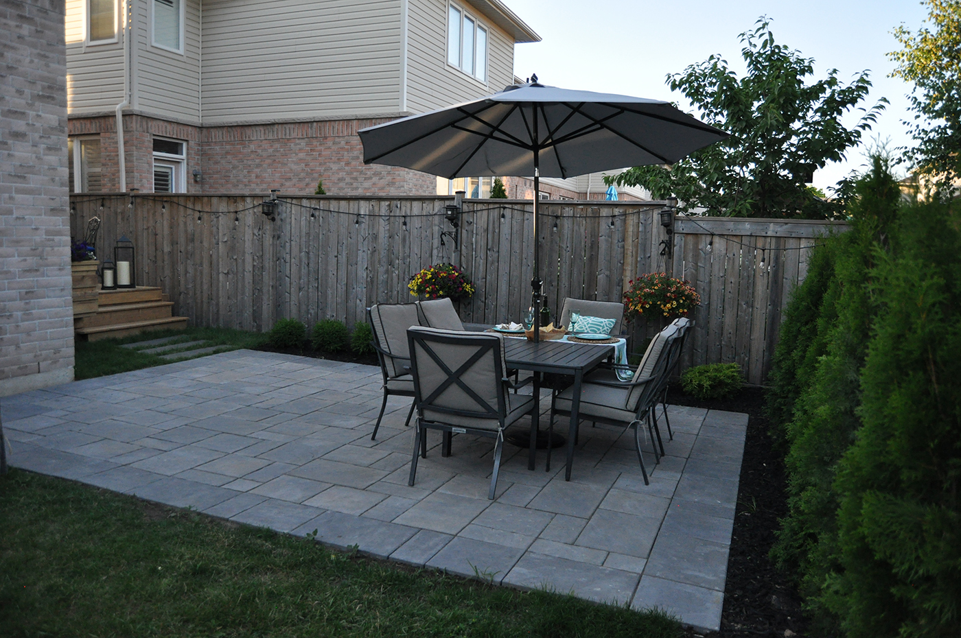 Amazing This Unilock Paver Patio Comprises Of Stones In Warm Subtle Colors For A  Romantic Yet Clean Look For This Patio. The Patio Is A Great Size To Fit A  Table ...