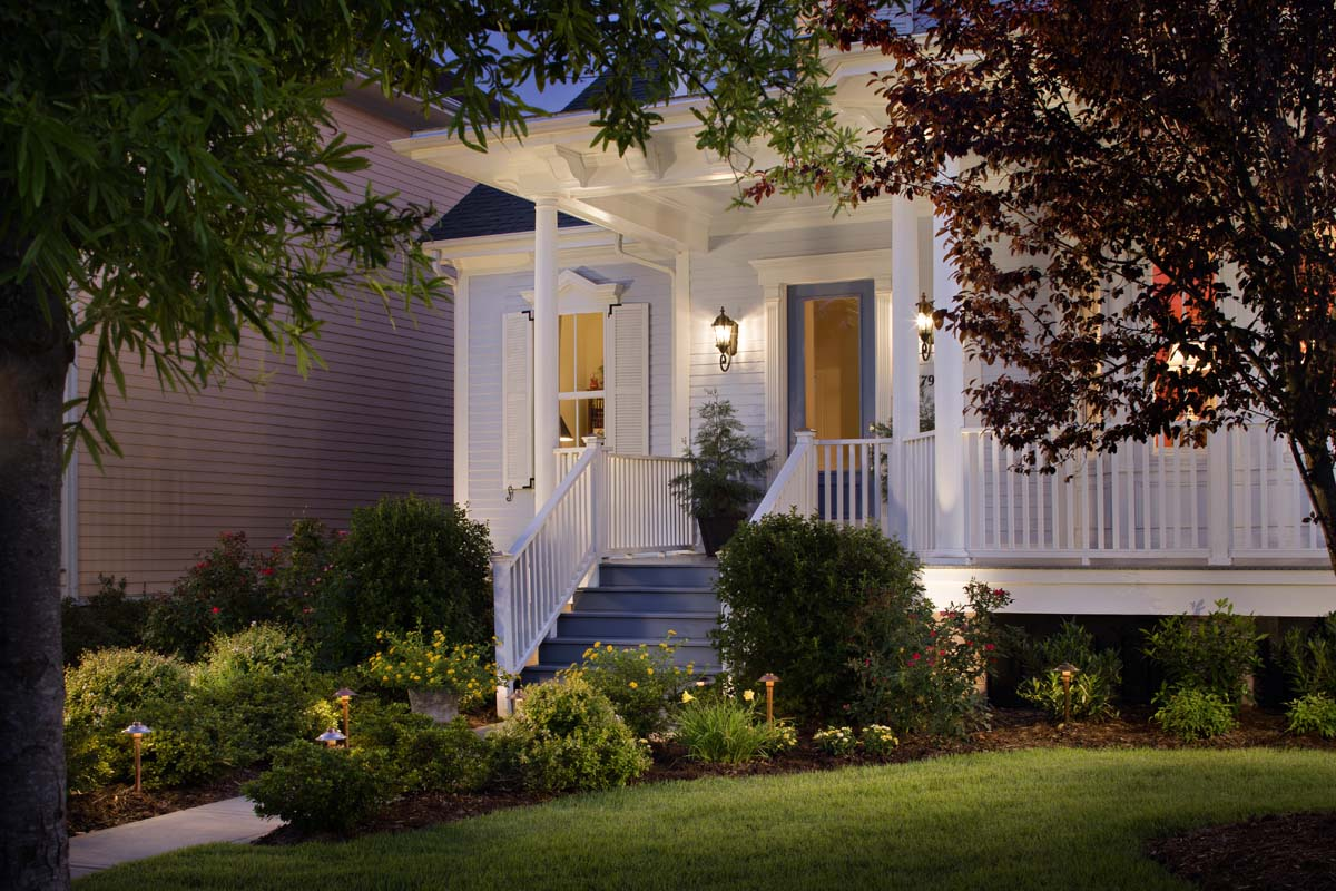 Porch and walkways should be well light for safety and security reasons. Welcome your guests to your home with a well lit front porch and walkway.  Low voltage lighting using a digital timer can offer you added safety and security.  But, personally, I think outdoor lighting adds more beauty to your home