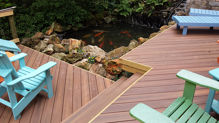 Feng shui played a huge part in making this warner robins for Koi pond deck