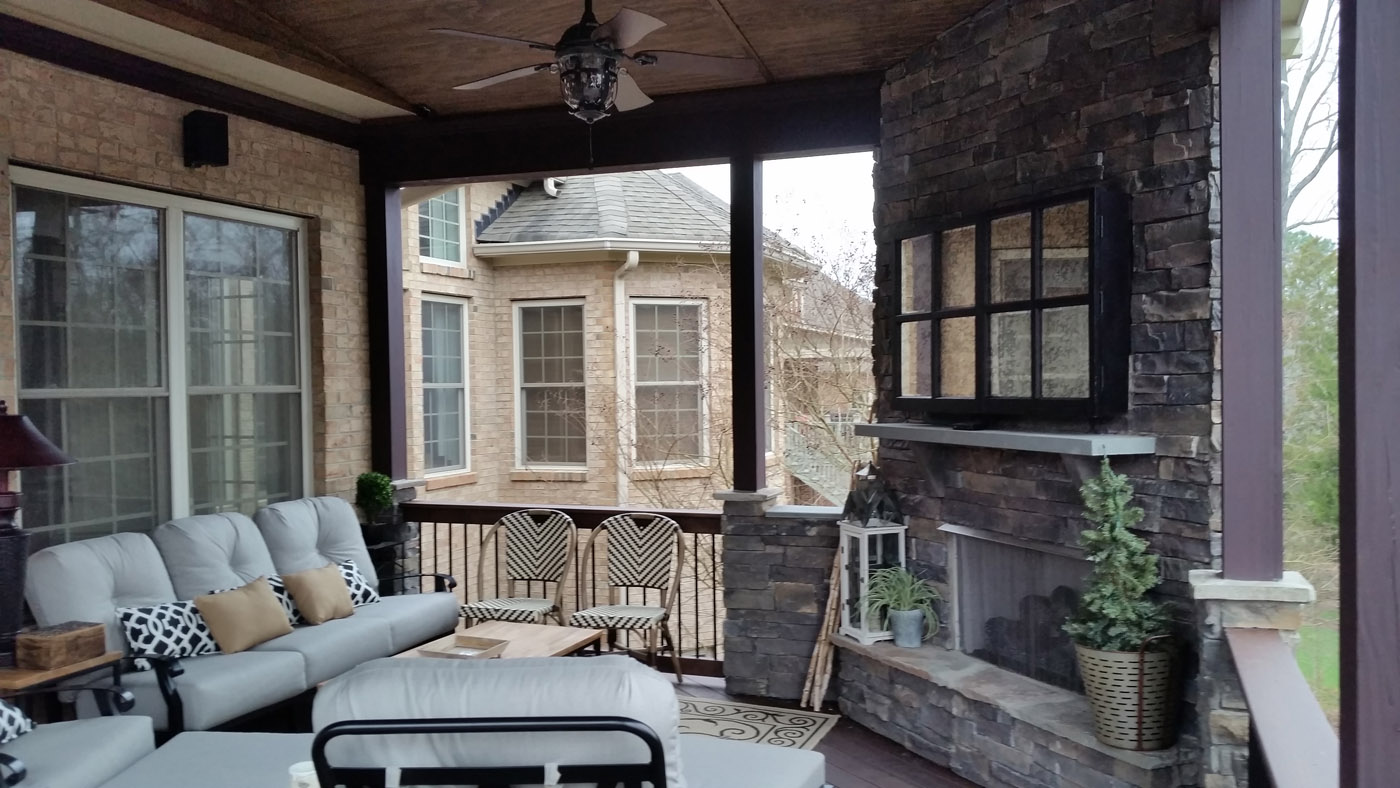 Raleigh covered porches custom shade for your backyard for Covered porch with fireplace