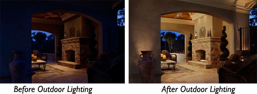 Patio Lighting before and after