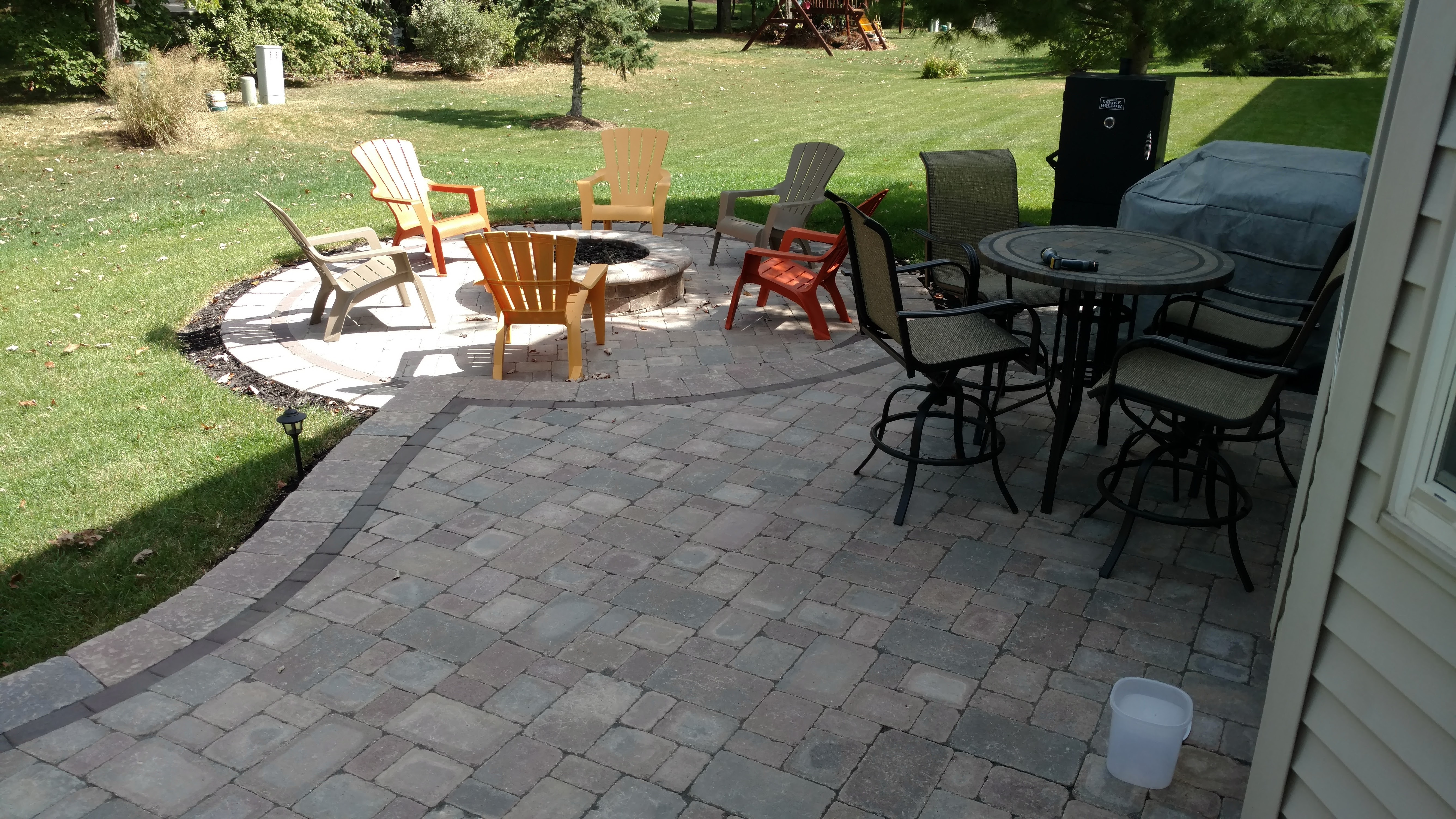 We Used Unilock Stonehenge Pavers On The Field Of The Patio. For The  Privacy/retaining Wall We Used Unilock Brussels Dimensional Stone And For  The Accent ...
