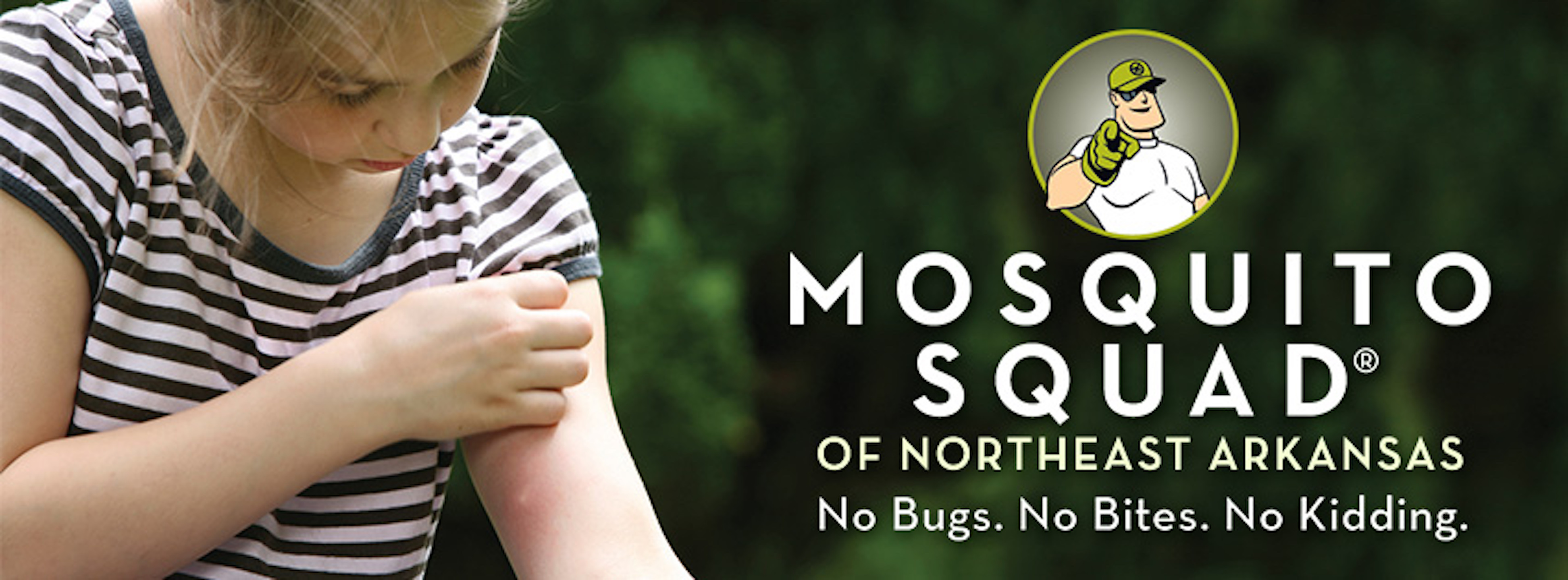 Girl with mosquito bite. Avoid bites with Mosquito Squad Mosquito Control