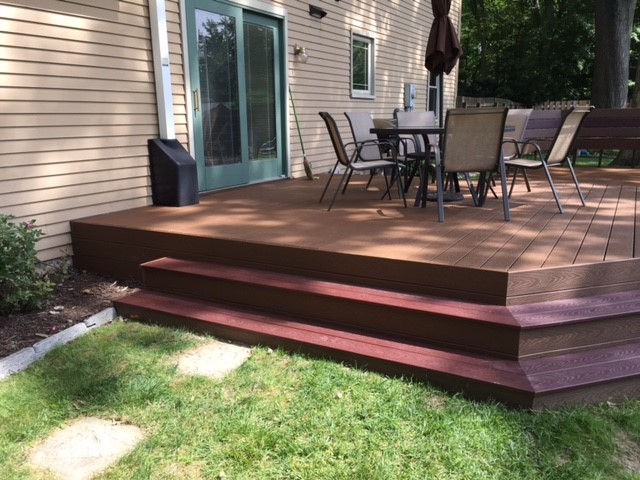 ... Deck And Paver Patio Combination That Made The Most Of The Park Like  Setting In Their Backyard. With Our Guidance They Chose Trex Select Capped  ...