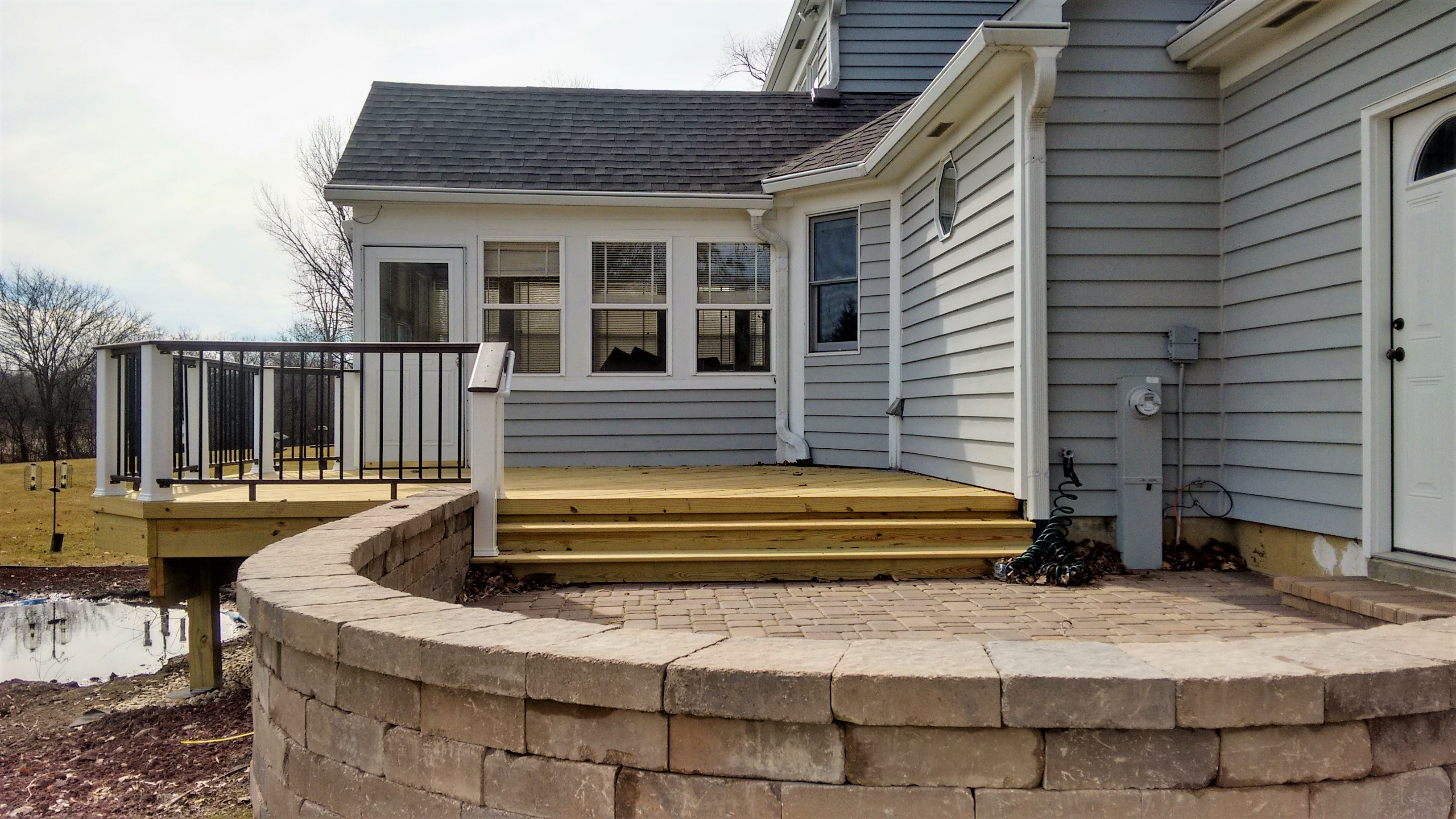 Wood Deck with Belgard Patio in Mundelein, IL Thumbnail