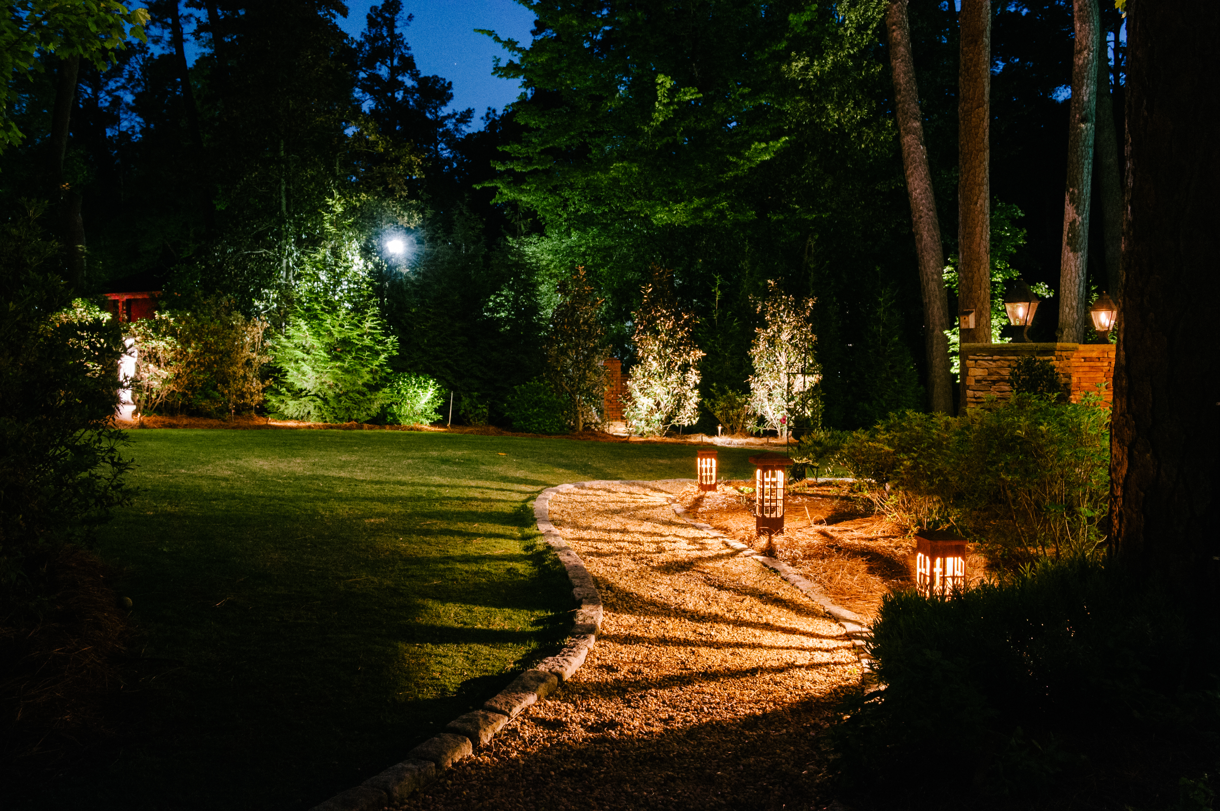 Landscape and garden lighting in little rock jonesboro our professional lighting is perfect for trees statues pathways and other backyard features we use the best quality fixtures to give you the best aloadofball Choice Image