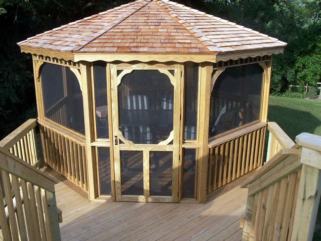 wood deck and gazebo
