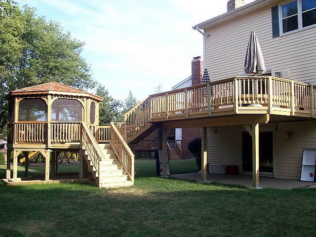 wood gazebo and deck