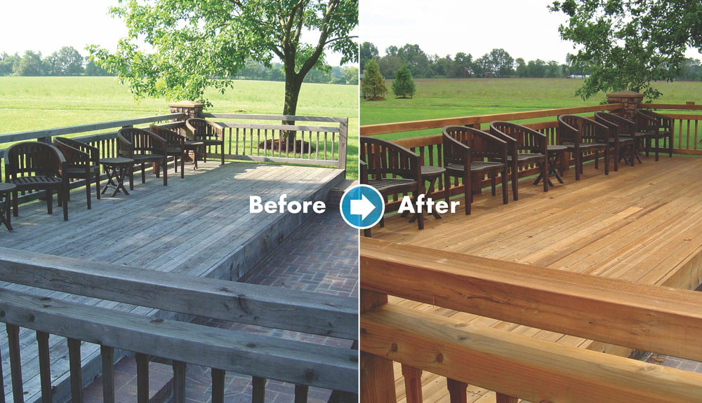 before and after Renew Crew of Charlotte deck staining