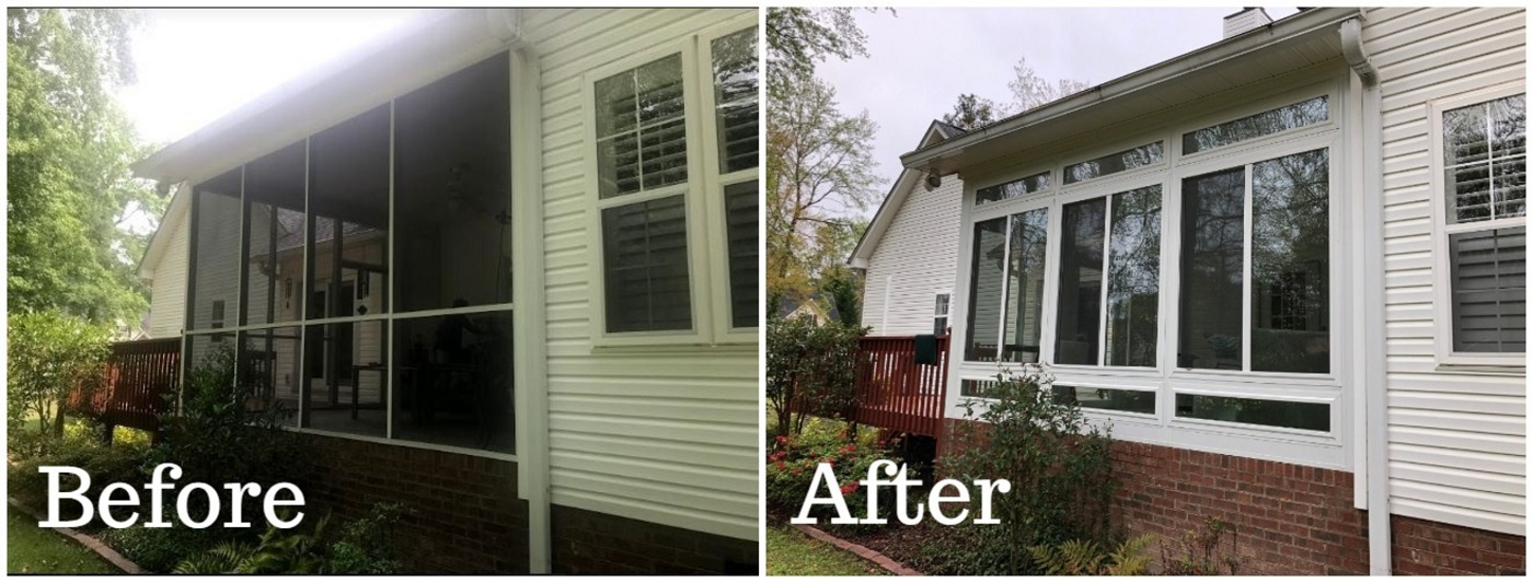Before-and-after-the-transformation-from-screened-patio-to-sunroom