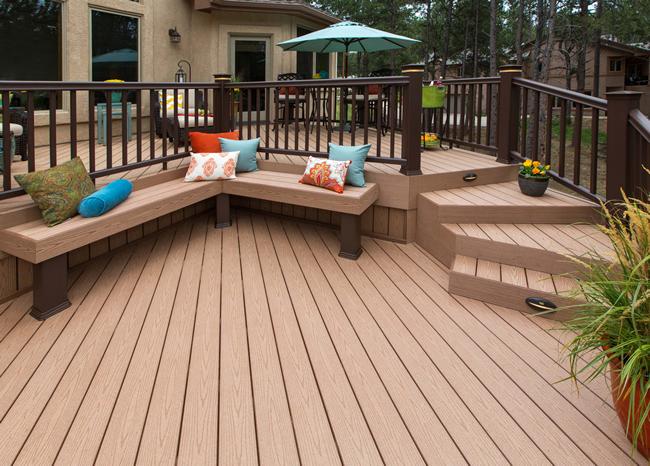 Timbertech Reliaboard Cedar With Traditional Walnut Rails