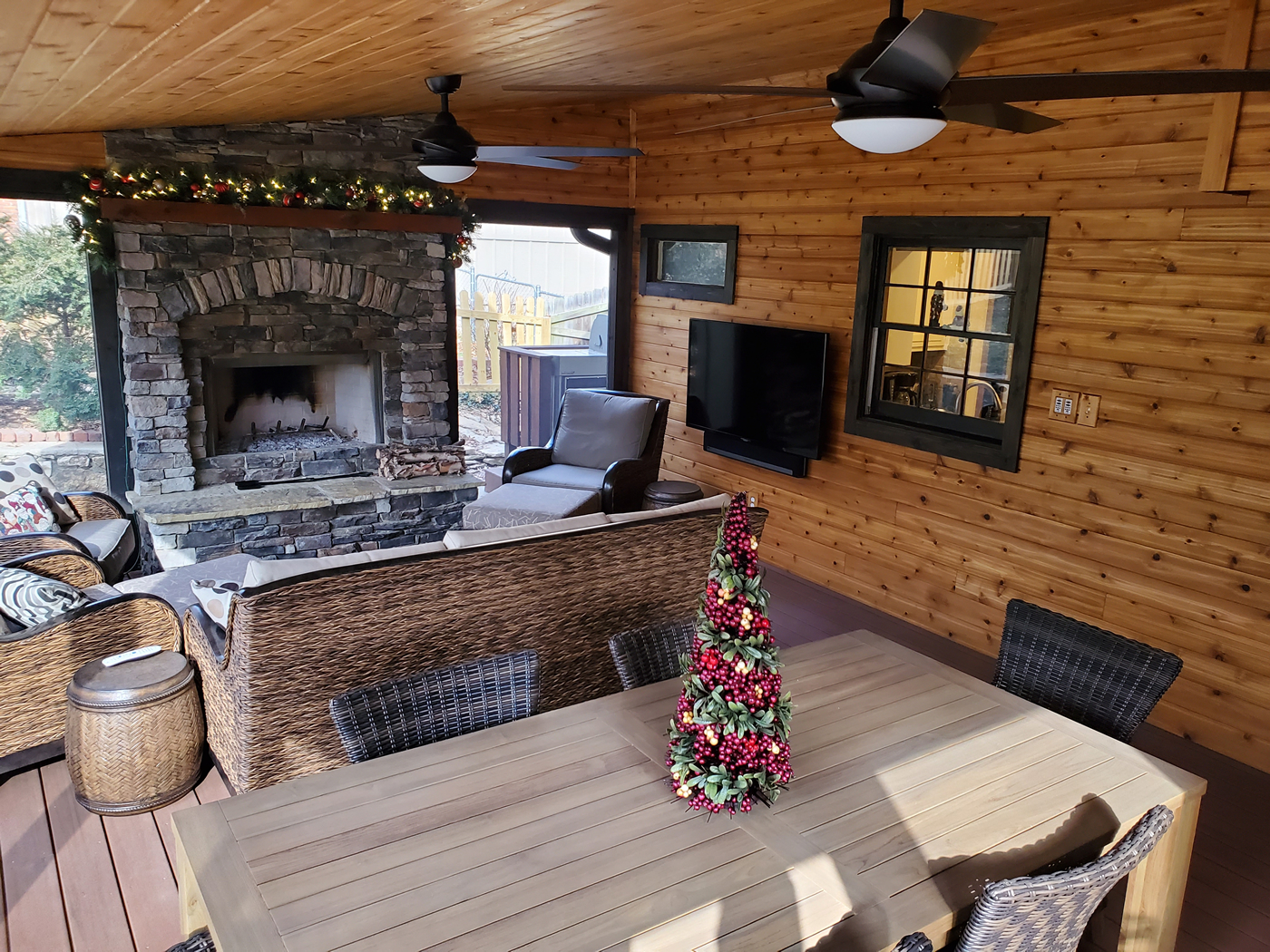 Lenexa screened porch with fireplace