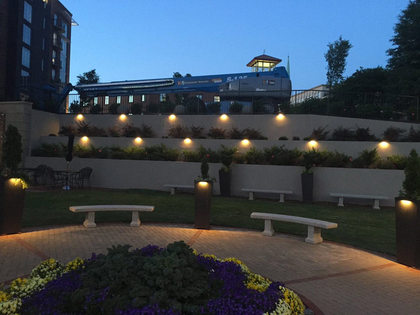 Greenville led commercial outdoor lighting takes the playwright a stunning greenville courtyard needs to be seen mozeypictures Images