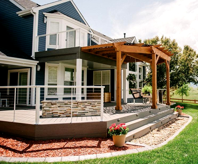 composite deck with cedar pergola and roofs