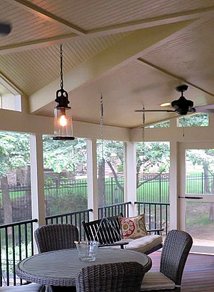 porch with finished ceiling