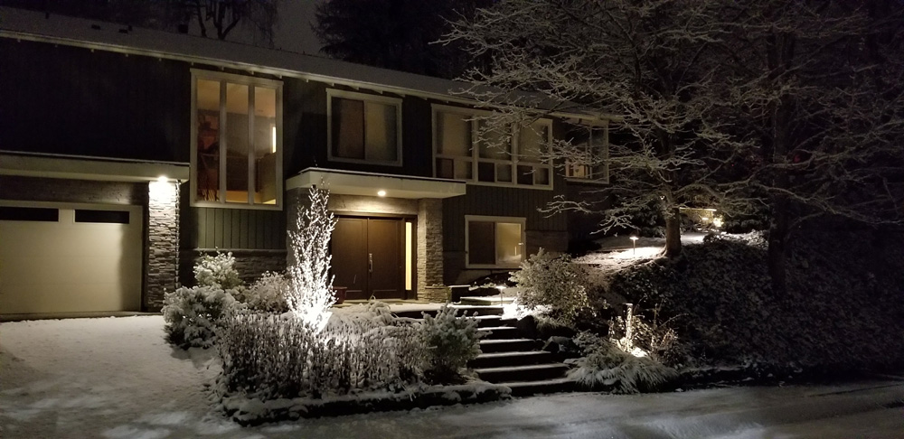 snowy landscape lighting for safety
